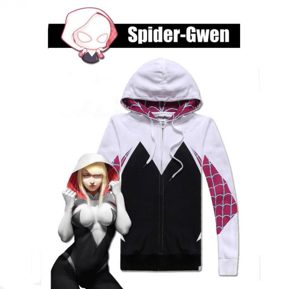 3d1a5699c Spiderman Hoodie - Spider-Gwen Stacy 3D Zip Up Hoodies Jacket Coat
