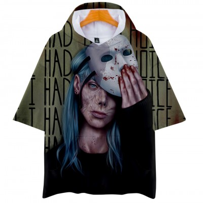 Game Sally Face Hooded T-shirt - Mask Green Half Short Sleeve Pullover  Hooded T-shirt 3D Sweatshirt Cosplay Costume