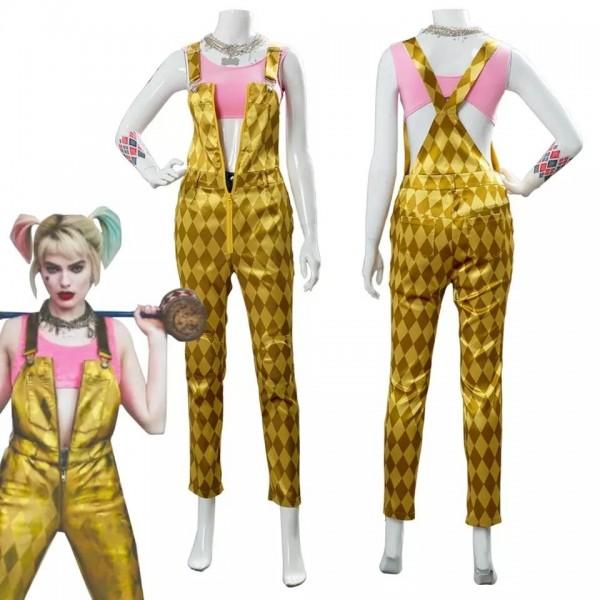 Harley Quinn Birds of Prey 2020 Costume Suspender Trousers Cosplay