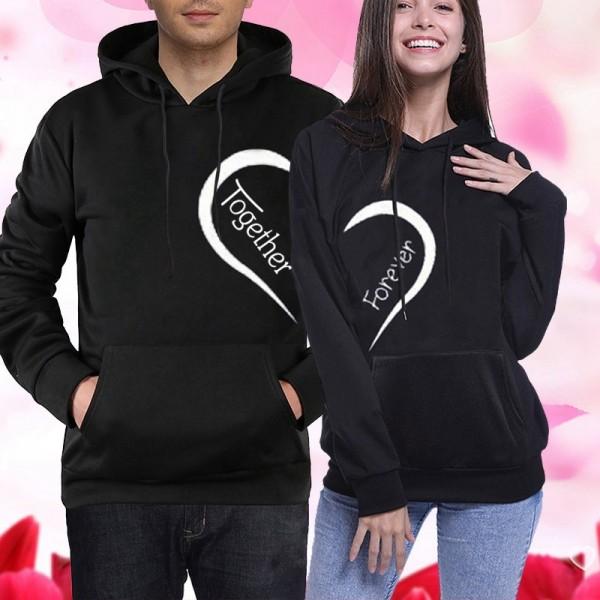 Couple Hoodies Sweatshirts - Together Forever Hoodie His and Her Hoodie Black