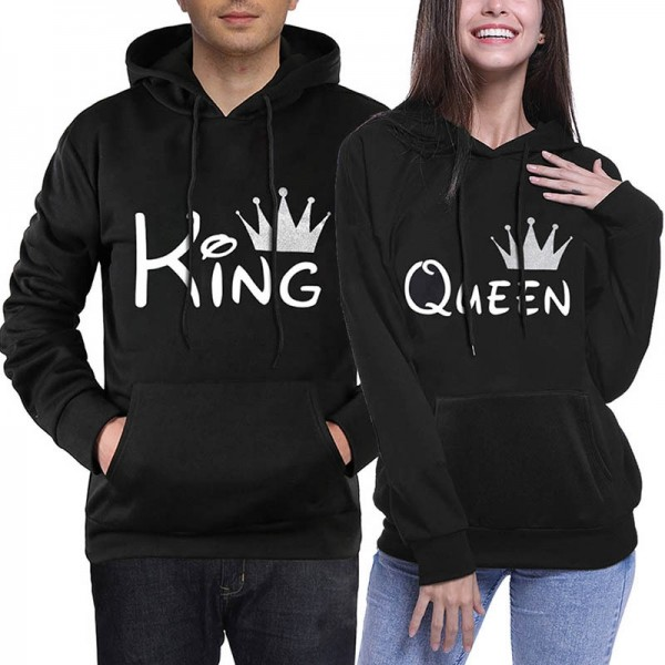 Couple Hoodies Sweatshirts - Crown King & Queen Hoodie His and Hers Black Hoodie