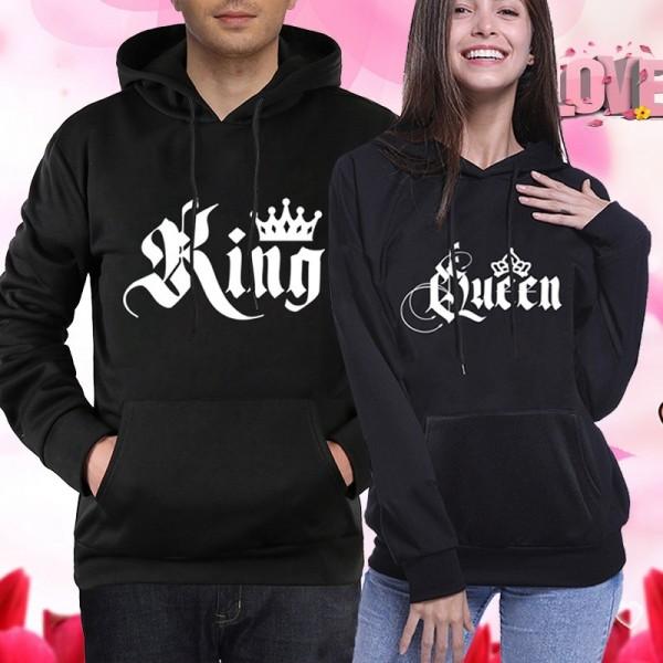 Couple Hoodies Sweatshirts - Royal Crown King & Queen Hoodie His and Hers Hoodie Black
