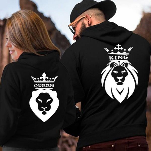 Couple Hoodies Sweatshirts - King & Queen Lion Hoodie His and Hers Black Hoodie