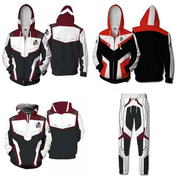 Avengers 4 Endgame Hoodie - Endgame Quantum Suit Uniform Cosplay 3D Zip Up Hoodies Jacket Coat Pants T-Shirt Costume