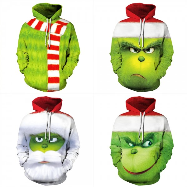 The Grinch Christmas 3D Pullover Hoodie Sweatshirt