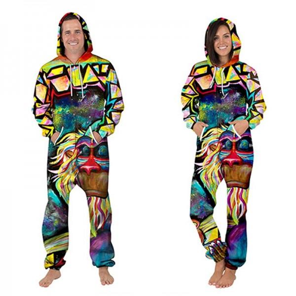 Monkey 3D Printed Hooded Jumpsuit Zip Up Long Sleeve Onesie For Men & Women