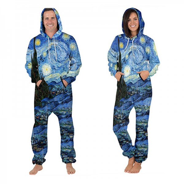 Painting 3D Printed Hooded Jumpsuit Zip Up Long Sleeve Onesie For Men & Women