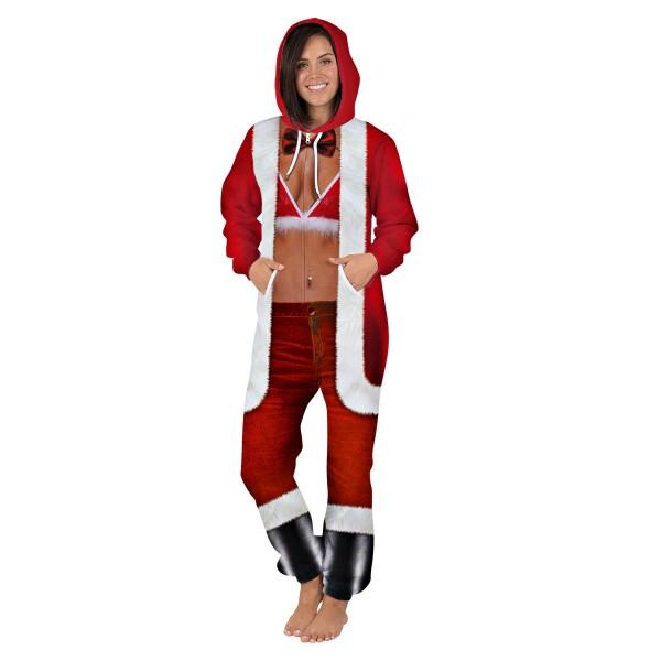 Christmas Sexy 3D Zip Up Hooded Jumpsuit Zip Up Long Sleeve Onesie