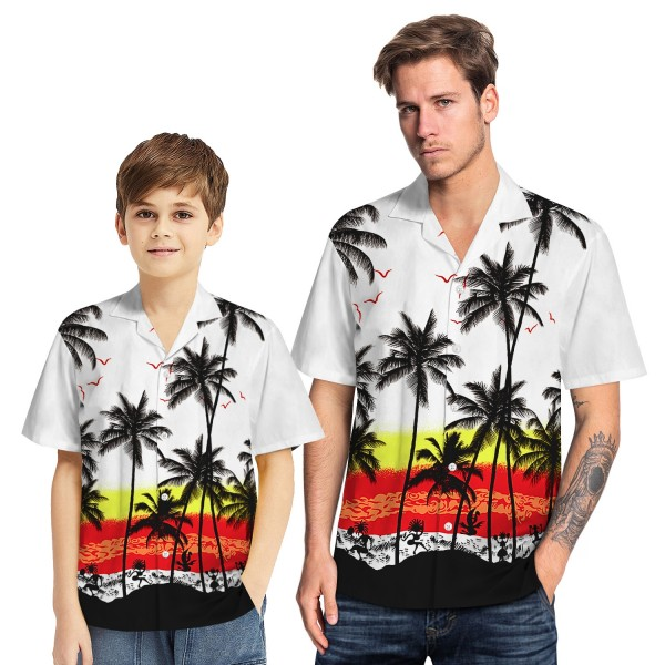 Tropical Hawaiian Aloha Shirt Sea Gull Palm White Casual Button-Down Shirts For Men Boys