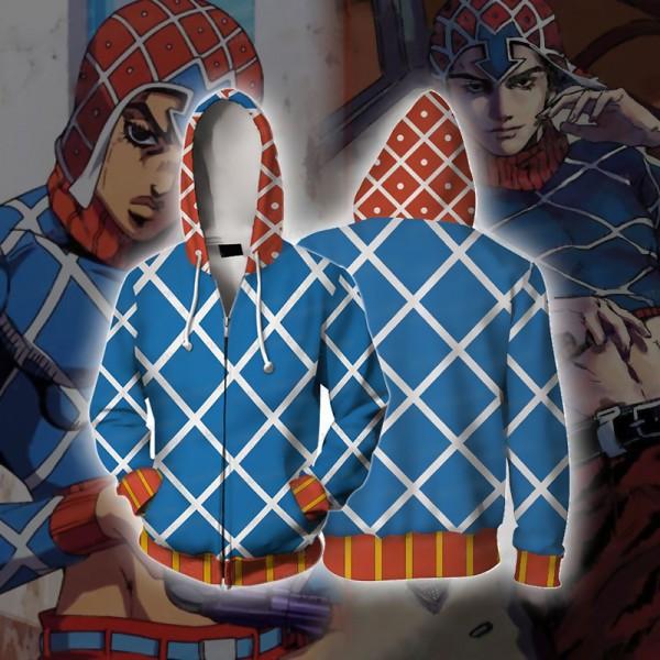 JoJo's Bizarre Adventure Hoodies - Golden Wind Guido Mista Hoodie Zip Up Jacket Cosplay Costume