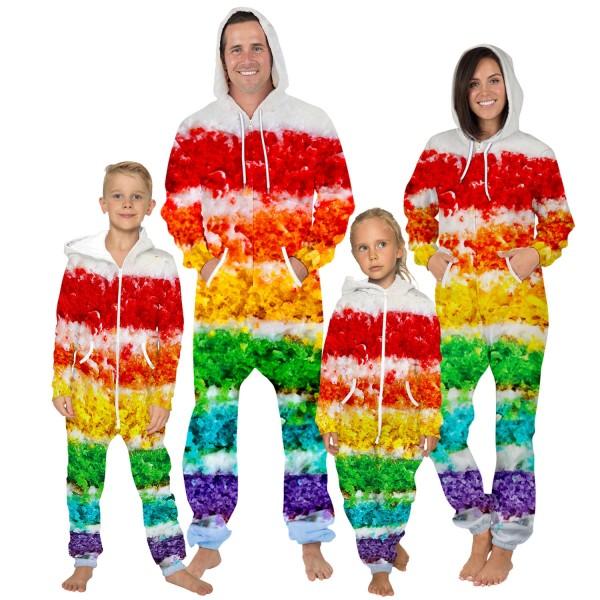 Colorful 3D Zip Up Hooded Jumpsuit Zip Up Long Sleeve Onesie For Men & Women