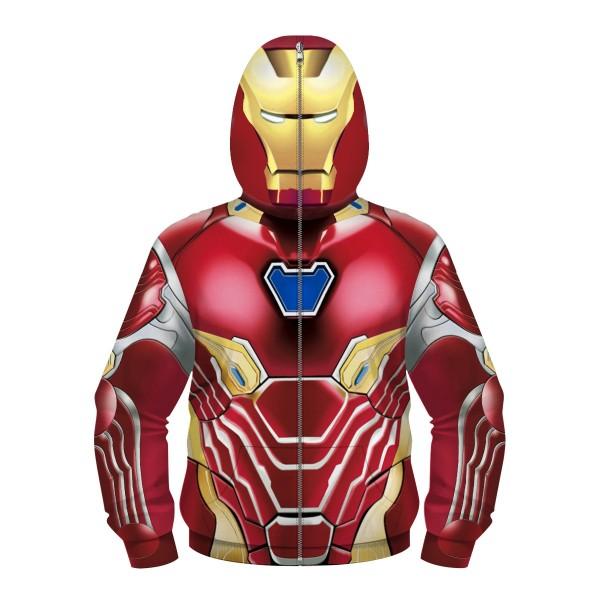 Kids Avengers Iron Man Full Zip Up Hoodie Jacket