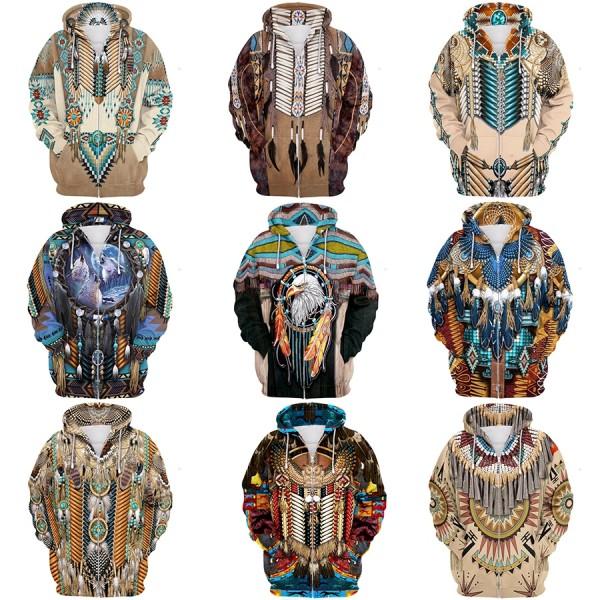 Native American Indian Hoodie 3D Printed Zip Up Hoodies Jacket