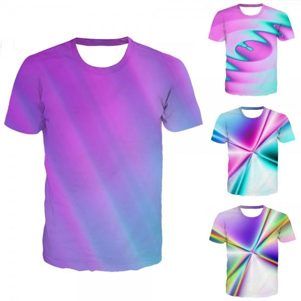 Tie-Dye Purple T-Shirt 3D Short Sleeve Tee
