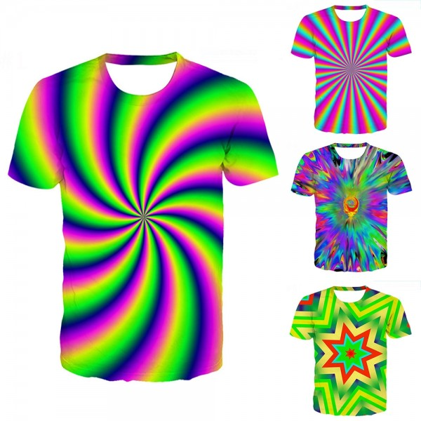 Tie-Dye T-Shirt Colorful Light 3D Short Sleeve Tee