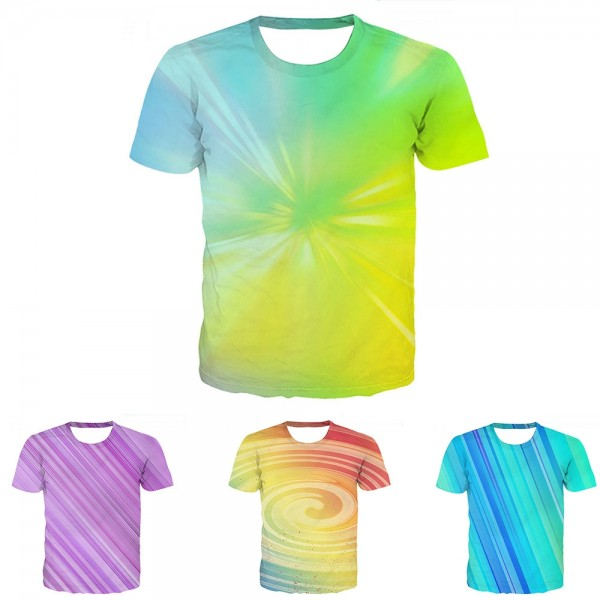 Tie-Dye Green T-Shirt 3D Short Sleeve Tee
