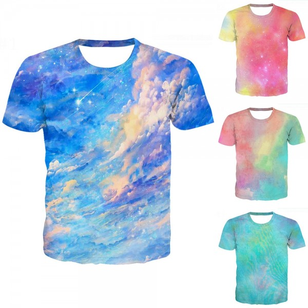 Tie-Dye T-Shirt Blue Sky Short Sleeve Tee