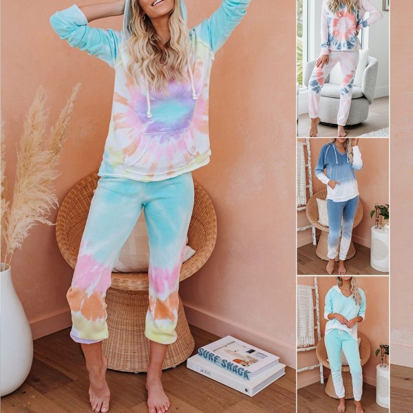 Women Tie Dye Hooded Tops & Pants Pajama Set Long Sleeve Sleepwear Loungewear