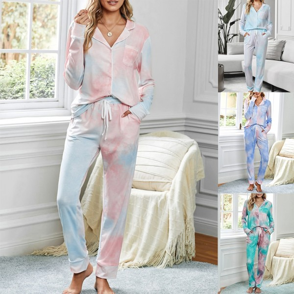 Women Tie Dye Two Pieces Pajamas Set Long Sleeve Shirts & Pants Sleepwear Loungewear