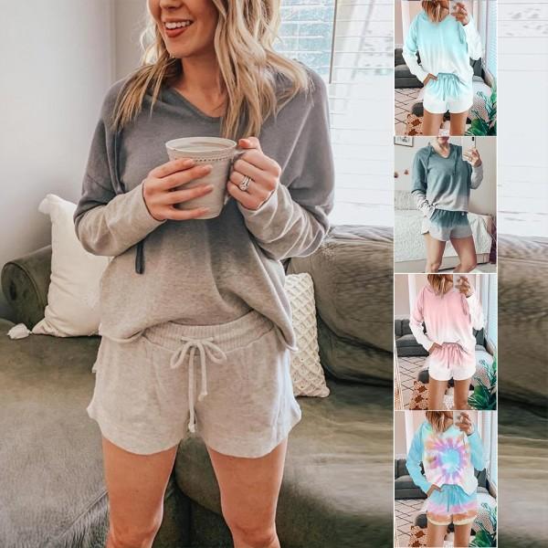 Women Tie Dye Hooded Tops & Shorts Pajama Set Long Sleeve Hoodie Sleepwear Loungewear
