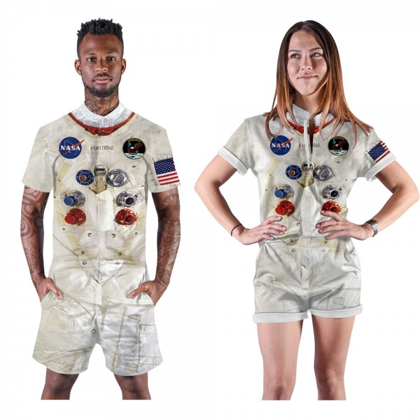 NASA Romper Shorts 3D Zip Up Short Sleeve Jumpsuit One Piece Outfit Shorts