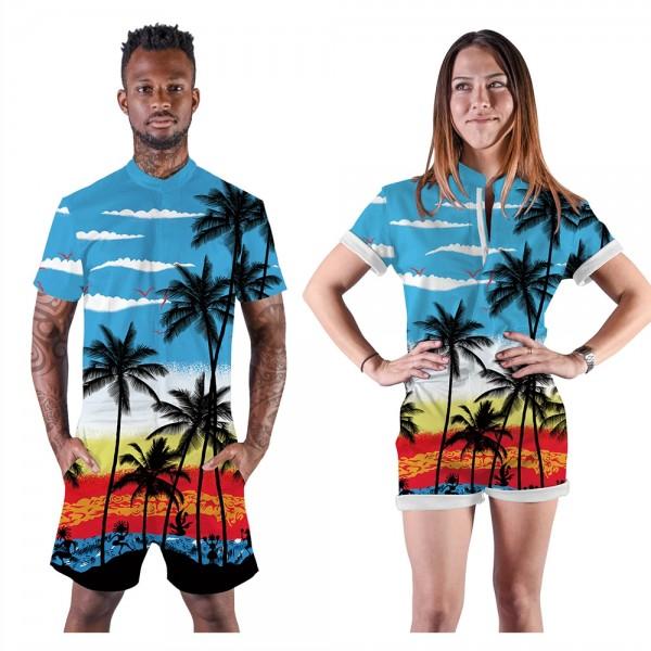Coconut Palm Romper Shorts 3D Zip Up Short Sleeve Jumpsuit One Piece Outfit Shorts