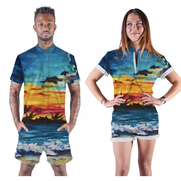 Beach Sunset Romper Shorts 3D Zip Up Short Sleeve Jumpsuit One Piece Outfit Shorts