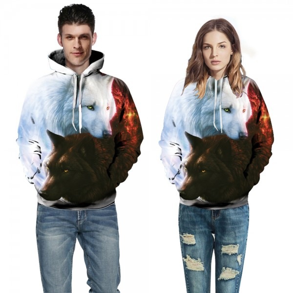 White & Black Cool 3D Hoodies Sweatshirt Pullover
