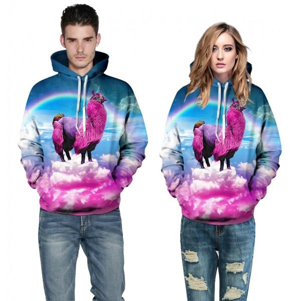Rainbow Alpaca Hoodies 3D Printed Sweatshirt Pullover