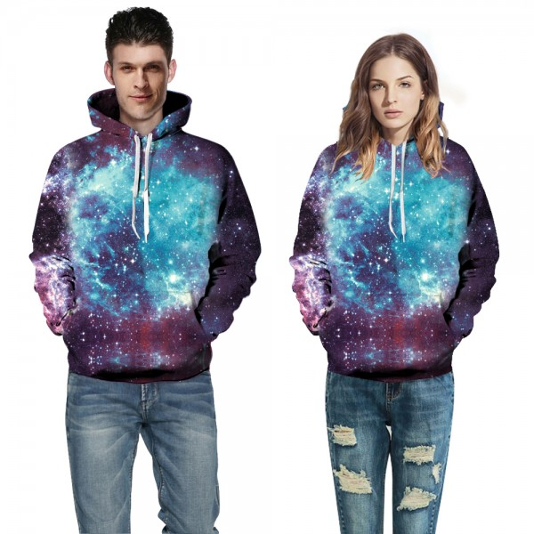Blue & Purple Galaxy 3D Hooded Sweatshirt