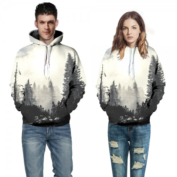 3D Hooded Sweatshirt Creative Cloud Forest