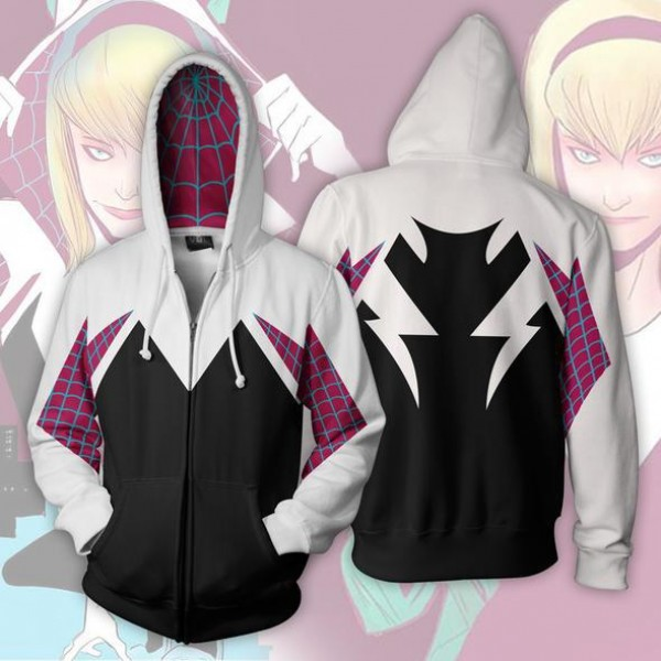 Spiderman Gwen Stacy Zip Up Hooded Jacket