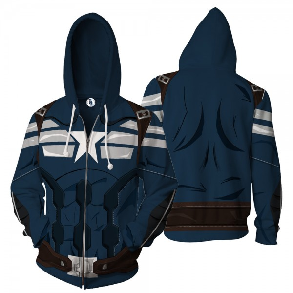 Marvel Avengers Hoodies - Captain America Zip Up Hooded Jackets