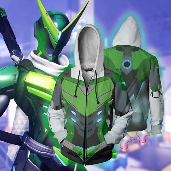 Overwatch Hoodie - Genji Sentai Skin 3D Zip Up Hoodies Jacket Coat Cosplay Costume