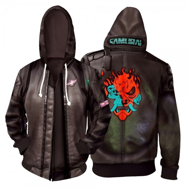 Cyberpunk 2077 Hoodies - Samurai 3D Zip Up Hoodie Jacket Cosplay Costume