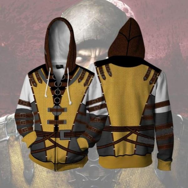 Mortal Kombat Hoodies - Scorpion 3D Zip Up Hoodie Jacket Cosplay Costume
