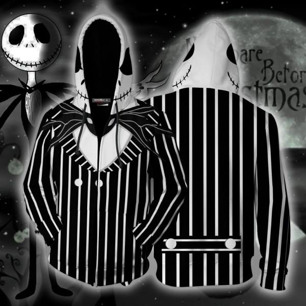 The Nightmare Before Christmas Jack Skellington Cosplay 3D Zip Up Hoodie Jacket