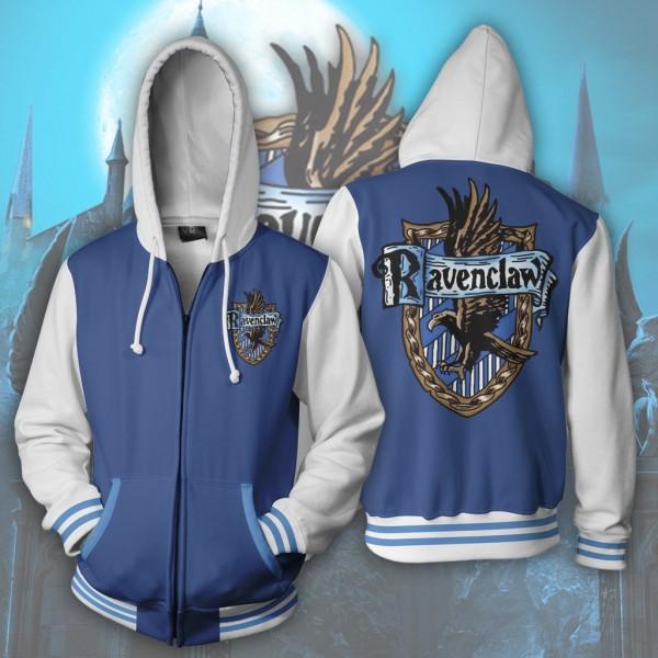 Harry Potter Hoodies - Ravenclaw Hoodie 3D Zip Up Jacket Cosplay Costume