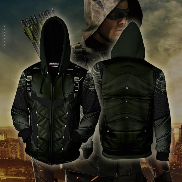 Arrow Oliver Hoodie 3D Zip Up Jacket Cosplay