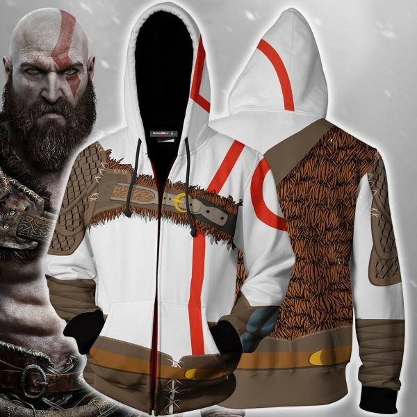 God Of War Kratos Hoodie Cosplay Zip Up Jacket