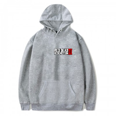 793bf5d4 Red Dead Redemption 2 Logo Print Gray Casual Pullover Hoodie