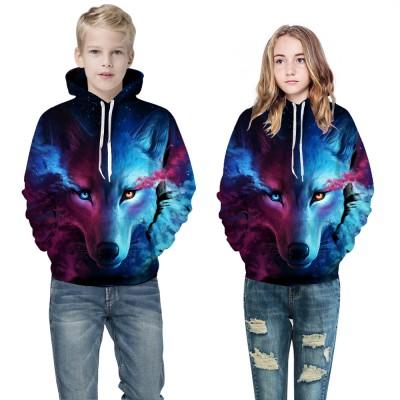 Youth 3D Print Blue Flowers Birds Hooded Sweatshirt