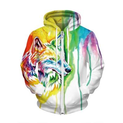 aaa972c5d984 Oil Painting Wolf 3D Jacket Zip Up Hoodie