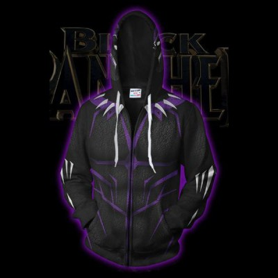 cceb5d3b2523 Black Panther Costume Purple Zip Up Hoodie Jacket