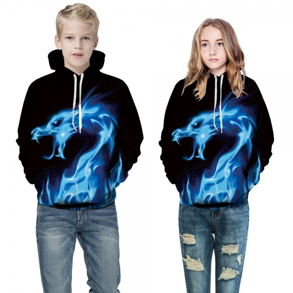 43e449b6a Fire Dragon 3D Design Hooded Sweatshirt For Boys Girls - Hoodieshow.com