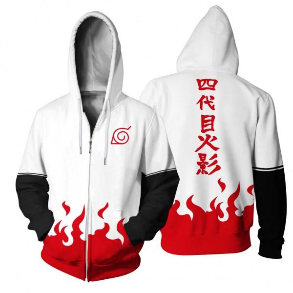 Hokage Namikaze Minato Anime 3D Hooded Zip Up Jackets ...  Hokage Namikaze...