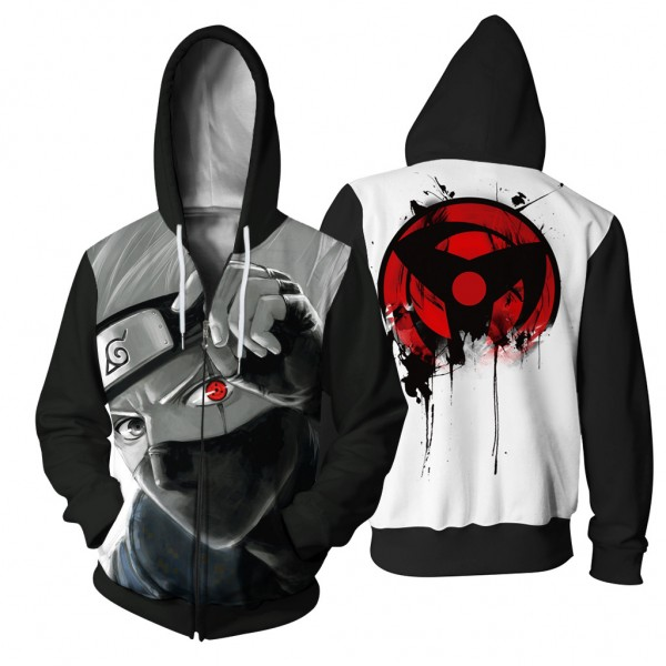 9eb479d7c0fe Naruto Hokage Cosplay Anime Grey 3D Hooded Zip Up Jackets Sweater